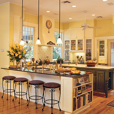 5 amazing kitchen color ideas to spice up your kitchen for Blue kitchen cabinets with yellow walls